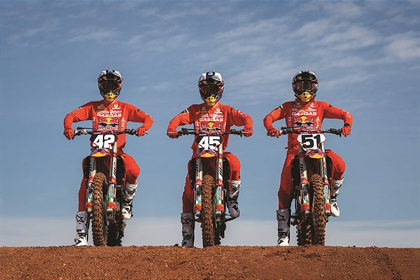 TROY LEE DESIGNS/RED BULL/GASGAS FACTORY RACING TEAM HEADS OUTDOORS FOR THE START OF AMA PRO MOTOCROSS